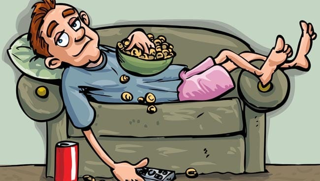 Cartoon teen relaxing on the sofa. He is eating a snack and has a soft drink handy